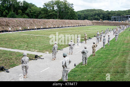 These Soldiers were qualifying at Camp Smith Training Site in order to go on State Active Duty to reinforce Joint - Stock Photo