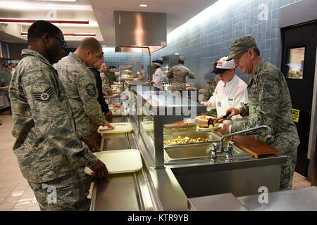 Col. Howard Wagner, Commander, 105th Airlift Wing, serves lunch at Stewart Air National Guard Base on February 12, - Stock Photo