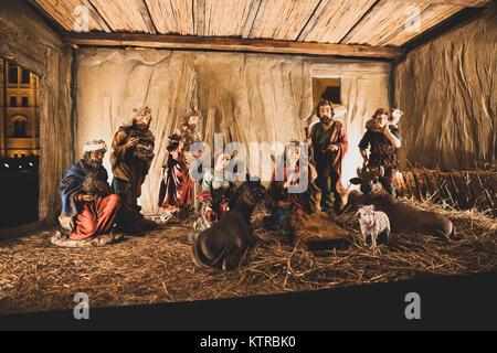 Nativity Scene, outside Hungarian Parliament, Budapest Christmas 2017. - Stock Photo