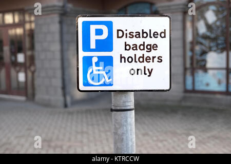Disabled Driver Badge Holders Only Sign at Car Park Large Centred - Stock Photo