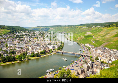 Moselle Valley Germany: View from Landshut Castle to the old town Bernkastel-Kues with vineyards and river Mosel - Stock Photo