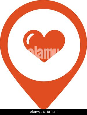 Map pointer with heart icon. Vector illustration - Stock Photo