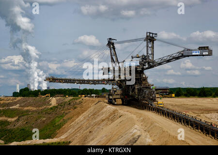 Lignite excavator in brown coal mining area in Bergheim, Rhine-Erft, Germany. - Stock Photo