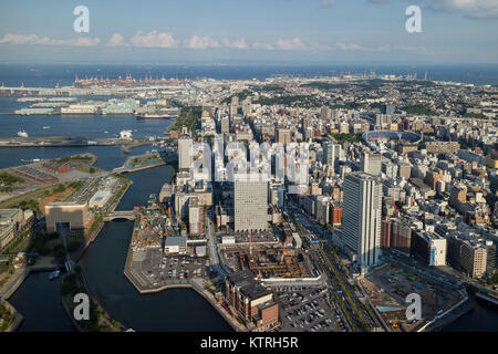 Yokohama - Japan, June 15, 2017 ; Yokohama, Naka ward and harbour viewed from the observation deck of Landmark Tower - Stock Photo