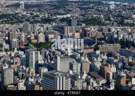 Yokohama - Japan, June 15, 2017 ; Yokohama baseball stadium viewed from the observation deck of Landmark Tower - Stock Photo