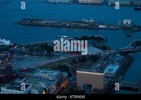 Yokohama - Japan, June 15, 2017; Historic red Brick Warehouses in Minato Mirai district of Yokohama Japan viewed - Stock Photo