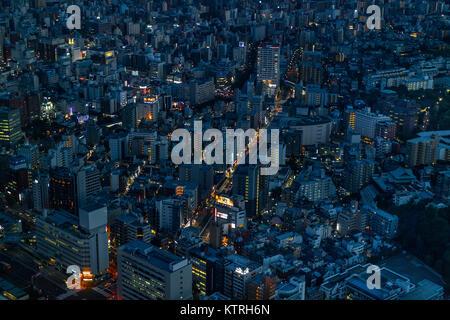 Yokohama - Japan, June 15, 2017 ; Aerial view of Yokohama from the observation deck of Landmark Tower at twilight - Stock Photo
