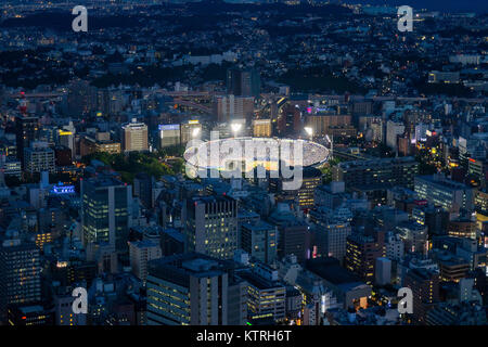 Yokohama - Japan, June 15, 2017 ; Yokohama baseball stadium viewed from the observation deck of Landmark Tower at - Stock Photo