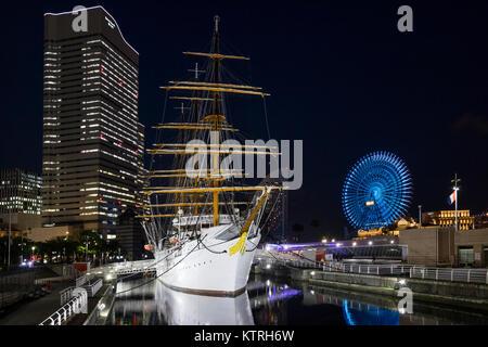 Yokohama - Japan, June 15, 2017: The Nippon Maru Sail Training Ship and Port Museum in Yokohama at twilight - Stock Photo