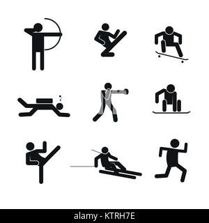 Sport Abstract Symbol Vector Illustration Graphic Design Set - Stock Photo