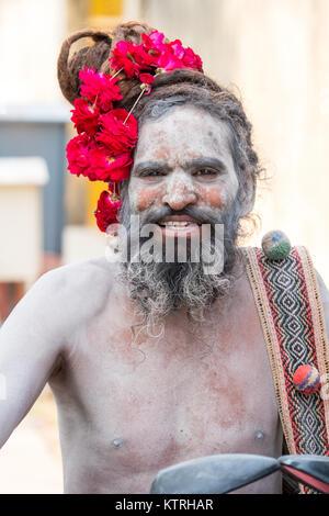 An Indian Holy Man / Sadhu / Saddhu / Yogi in Jaipur, Rajasthan,India - Stock Photo