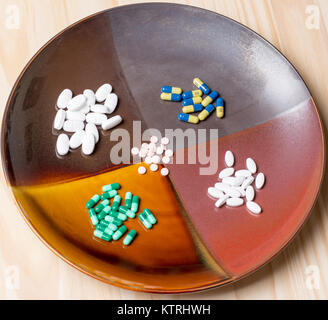 assortment of pills on a dinner plate representing our modern day need to self medicate. - Stock Photo