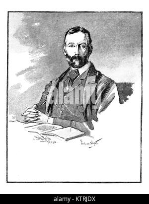 Portrait ofThomas Sexton, 1848 - 1932, Irish Journalist and Politician. Black and White engraving after a sketch - Stock Photo