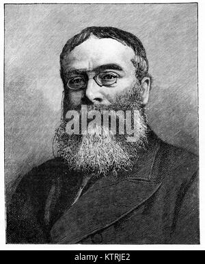 Portrait of Sir Walter Besant, 1836 - 1901, English novelist and historian. Black and white engraving from aphotograph - Stock Photo