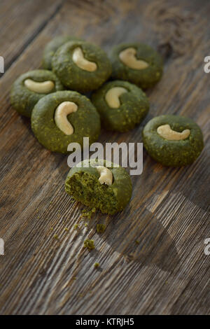 Home-made Japanese Matcha cookies, chewy ground green tea cookies artistic still life - Stock Photo