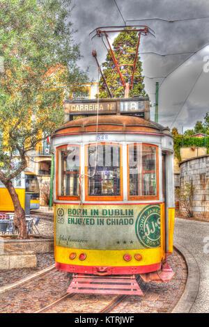 Historische alte Tram in Belem, Lissabon, Portugal    I Old Tramcar in Belem, Lisbon, Portugal - Stock Photo