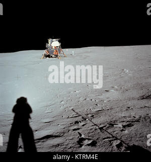 Lunar Module at Tranquility Base was taken by Neil Armstrong during the Apollo 11 mission, from the rim of Little - Stock Photo