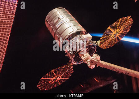 Orbital ATK's Cygnus cargo spacecraft prior to its departure from the International Space Station - Stock Photo