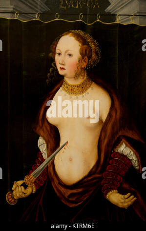 Lucretia committing suicide. Lucas Cranach the Elder - Stock Photo