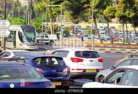 JERUSALEM, ISRAEL - SEPTEMBER 20, 2017: Traffic in Jerusalem, Israel - Stock Photo