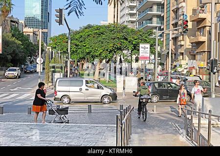 TEL AVIV, ISRAEL - SEPTEMBER 17, 2017: View of Rothschild Boulevard in Tel Aviv, Israel - Stock Photo