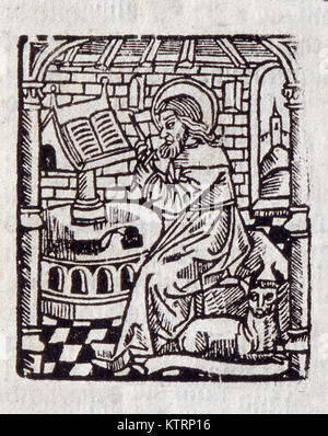 Illustration of a scribe from William Tyndale's 1538 New Testament. Used with permission from the Reed Collection - Stock Photo