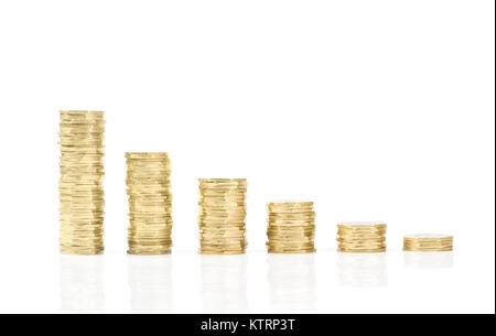 step of golden coins stacks showing increase , Business chart with coins columns on white background- Financial - Stock Photo
