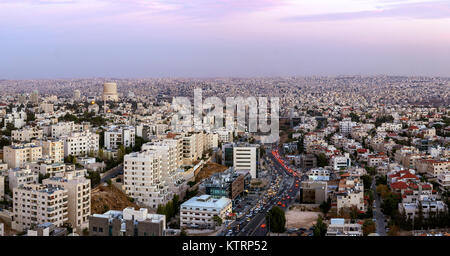 Panoramic view of Amman city - Panorama of Abdoun area and abdoun bridge - Full view of Amman city the capital of - Stock Photo