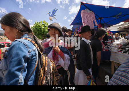 Otavalo, Ecuador-December 23, 2017: people in the Saturday market of the indigenous town - Stock Photo