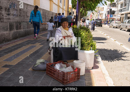 Otavalo, Ecuador-December 23, 2017: ndigenous woman selling peas on the street - Stock Photo