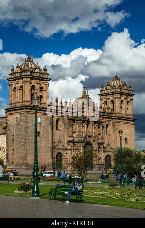 Cusco Cathedral (Nuestra Senora de la Asuncion) on Plaza de Armas, Cusco, Peru - Stock Photo