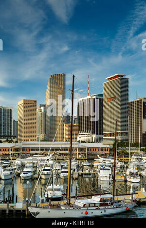Boats in Marina at Bayfront Marketplace and skyscrapers, Miami, Florida USA - Stock Photo