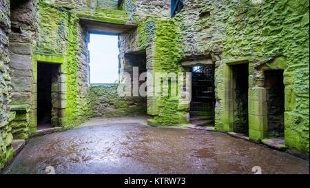 Interior sight in Dunnottar Castle, near Stonehaven, Scotland. - Stock Photo
