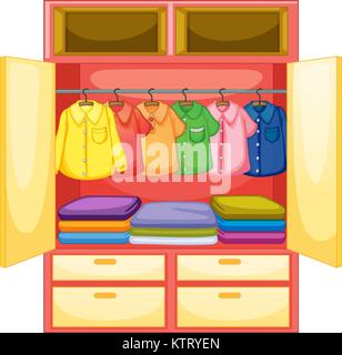 Wooden Hanger Wardrobe With Clothes On White