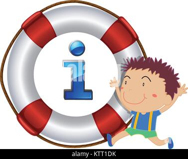 illustration of a boy and lifesaver floating on a white background - Stock Photo