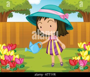 Illustration of girl watering plants - Stock Photo