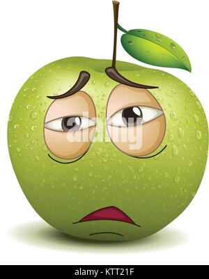 illustration of a sad apple smiley on a white background - Stock Photo