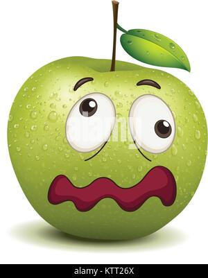illustration of a dull apple smiley on a white - Stock Photo