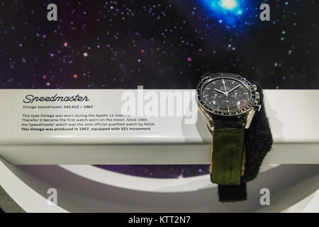 BANGKOK, THAILAND - DECEMBER 20: NASA Exhibition in Bangkok, Thailand on December 20, 2014. The Omega Speedmaster - Stock Photo