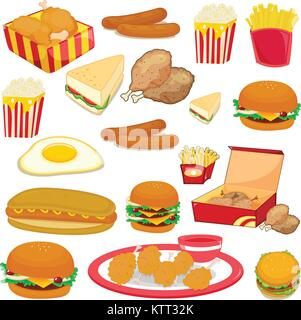illustration of food on a white background - Stock Photo
