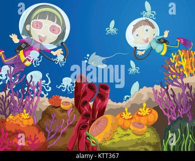 Illustration of children diving underwater - Stock Photo