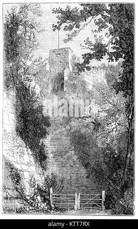 Steps leading to the Keep of Carisbrooke Castle located in the village of Carisbrooke, near Newport, in the Isle - Stock Photo