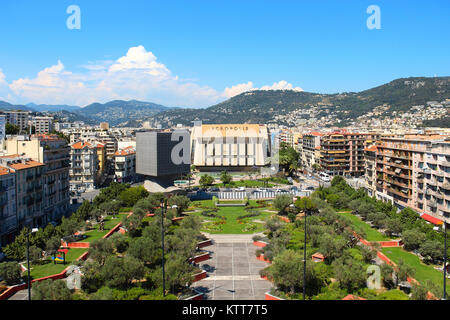 NICE, FRANCE - JUNE 23, 2016: Promenade des Arts and Acropolic center of congresses and exhibitions in downtown - Stock Photo