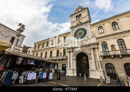 The Torre dell'Orologio, an astronomical clock tower in the Piazza dei Signori in Padua, a city in Veneto, northern - Stock Photo