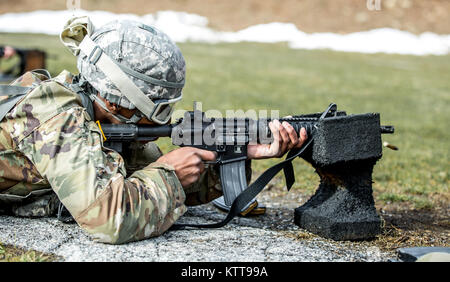 U.S. Army Spc. Richard Blount zeroes his weapon before shooting a weapon qualification during the New York Army - Stock Photo