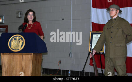 LATHAM, N.Y. -- New York State Lt. Governor Kathy Hochul speaks during a World War I centennial ceremony at the - Stock Photo