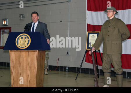 LATHAM, N.Y. -- Col. (retired) Eric Hesse; director of the New York State Division of Veterans Affairs speaks during - Stock Photo