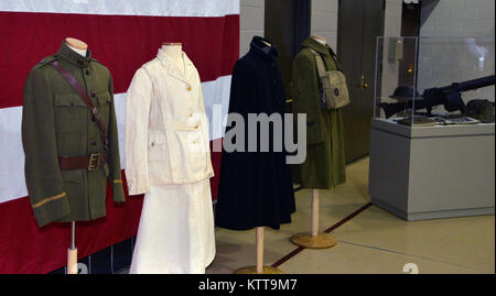 LATHAM, N.Y. -- World War I uniforms and artifacts on display during a World War I centennial ceremony at the New - Stock Photo
