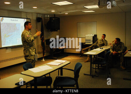 N.Y. Army National Guard Soldiers assigned to 3rd Battalion, 142nd Aviation receive a briefing on their upcoming mission in Latham, N.Y., Sept 10, 2017. The 3rd Battalion, 142nd Aviation was preparing to deploy to Florida to bring aid to the victims of Hurricane Irma. (U.S. Army National Guard photo by Pfc. Andrew Valenza)