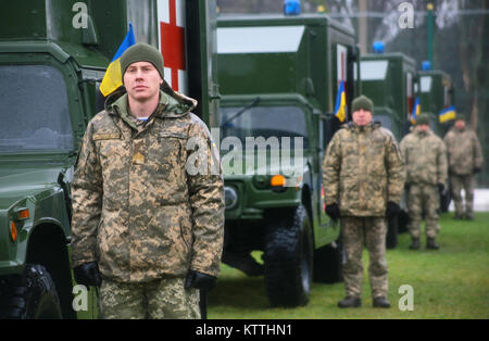 Yavoriv, Ukraine – Ukrainian soldiers assigned to the Yavoriv Combat Training Center attend a Ukrainian Armed Forces - Stock Photo